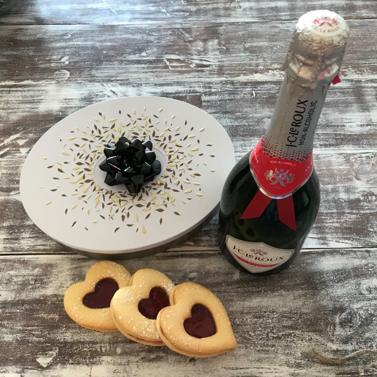 Heart shaped cookies with bubbly