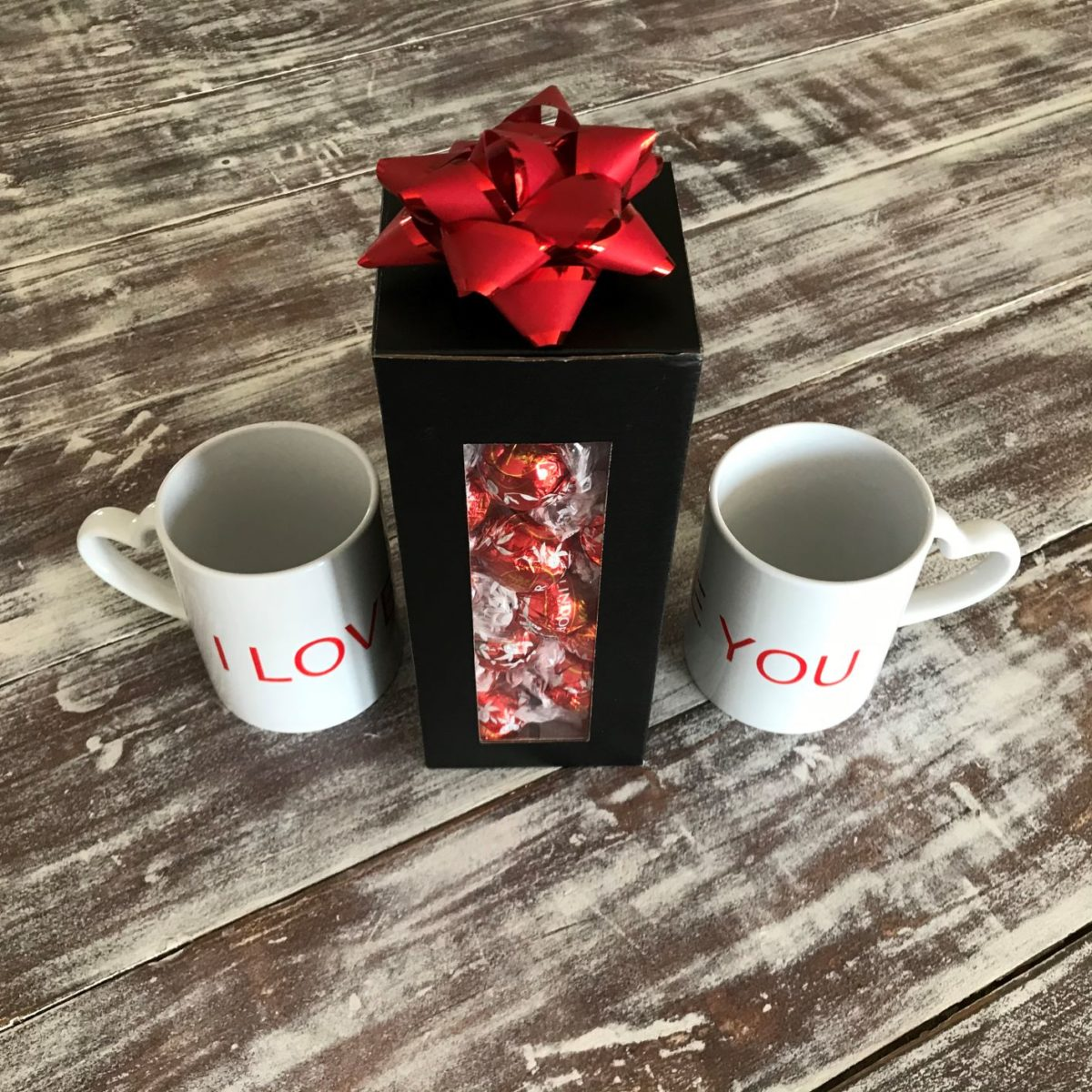 Lindt chocolate truffles with love mugs