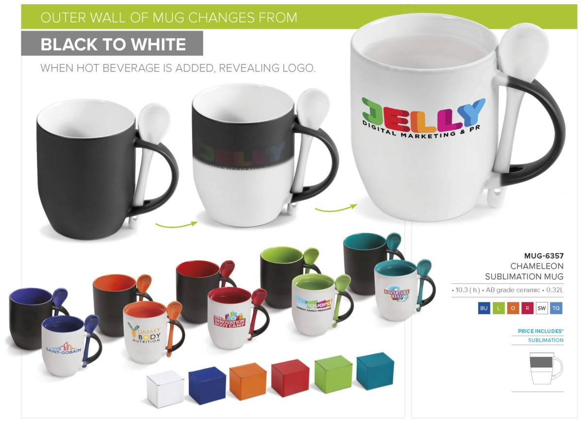 Chameleon Sublimation Mug with Spoon